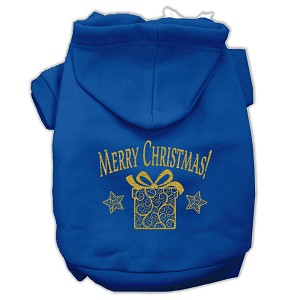 Golden Christmas Present Pet Hoodies Blue Size Lg (14)