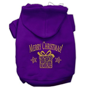 Golden Christmas Present Pet Hoodies Purple Size XL (16)