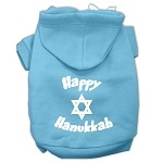Happy Hanukkah Screen Print Pet Hoodies Baby Blue Size XS