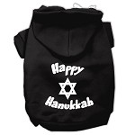 Happy Hanukkah Screen Print Pet Hoodies Black Size XS