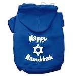Happy Hanukkah Screen Print Pet Hoodies Blue Size XS