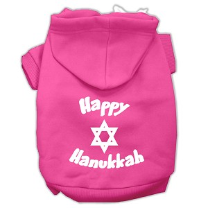 Happy Hanukkah Screen Print Pet Hoodies Bright Pink Size Lg (14)