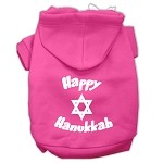 Happy Hanukkah Screen Print Pet Hoodies Bright Pink Size XS