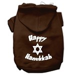 Happy Hanukkah Screen Print Pet Hoodies Brown Size XS