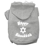 Happy Hanukkah Screen Print Pet Hoodies Grey Size XS