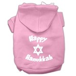 Happy Hanukkah Screen Print Pet Hoodies Light Pink Size XS