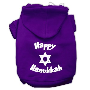Happy Hanukkah Screen Print Pet Hoodies Purple Size Lg (14)