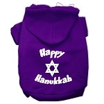 Happy Hanukkah Screen Print Pet Hoodies Purple Size XS