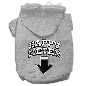 Happy Meter Screen Printed Dog Pet Hoodies Grey Size Lg (14)