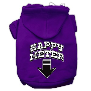Happy Meter Screen Printed Dog Pet Hoodies Purple Size Lg