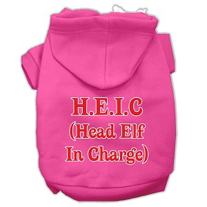 Head Elf In Charge Screen Print Pet Hoodies Bright Pink Size XL (16)
