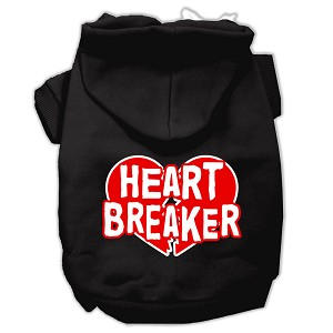 Heart Breaker Screen Print Pet Hoodies Black Size Med