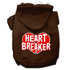 Heart Breaker Screen Print Pet Hoodies Brown Size Lg