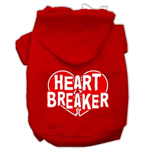 Heart Breaker Screen Print Pet Hoodies Red Size Sm (10)
