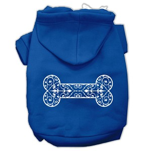 Henna Bone Screen Print Pet Hoodies Blue Size Sm (10)