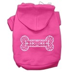 Henna Bone Screen Print Pet Hoodies Bright Pink Size Med (12)