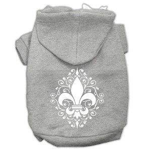 Henna Fleur De Lis Screen Print Pet Hoodies Grey Size Lg (14)