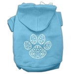 Henna Paw Screen Print Pet Hoodies Baby Blue Size XS (8)
