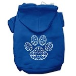 Henna Paw Screen Print Pet Hoodies Blue Size XS (8)
