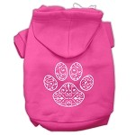 Henna Paw Screen Print Pet Hoodies Bright Pink Size XS (8)