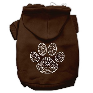 Henna Paw Screen Print Pet Hoodies Brown Size Lg (14)