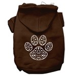 Henna Paw Screen Print Pet Hoodies Brown Size XS (8)