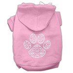Henna Paw Screen Print Pet Hoodies Light Pink Size XS (8)