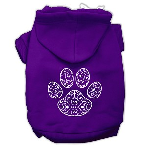 Henna Paw Screen Print Pet Hoodies Purple Size Med (12)