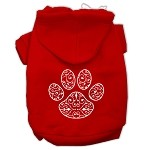 Henna Paw Screen Print Pet Hoodies Red Size XS (8)