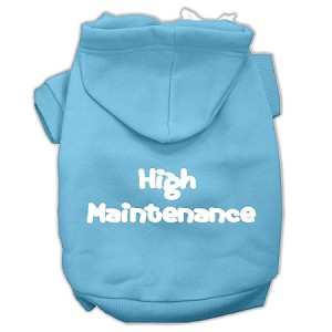 High Maintenance Screen Print Pet Hoodies Baby Blue S