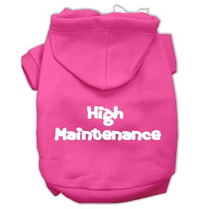 High Maintenance Screen Print Pet Hoodies Bright Pink Size L