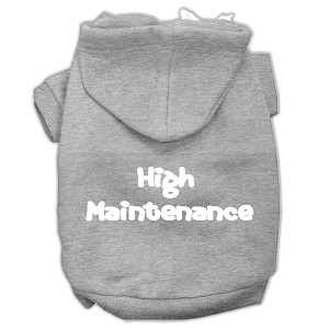 High Maintenance Screen Print Pet Hoodies Grey XXL (18)