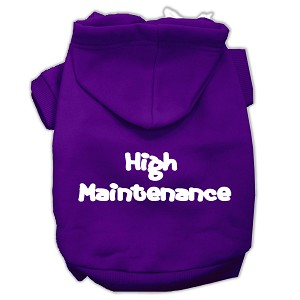 High Maintenance Screen Print Pet Hoodies Purple Size M (12)
