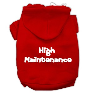 High Maintenance Screen Print Pet Hoodies Red Size M (12)