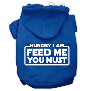 Hungry I Am Screen Print Pet Hoodies Blue Size XL (16)