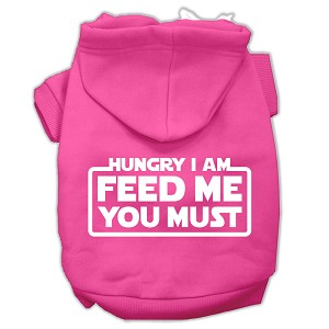 Hungry I am Screen Print Pet Hoodies Bright Pink Size Lg (14)