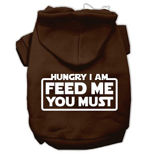 Hungry I Am Screen Print Pet Hoodies Brown Size Sm (10)