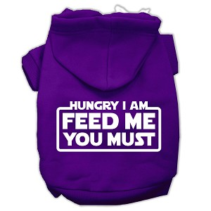 Hungry I am Screen Print Pet Hoodies Purple Size XXL (18)
