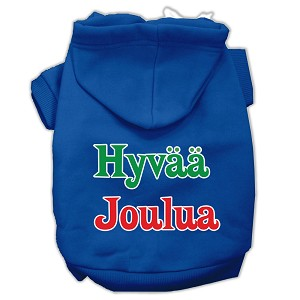 Hyvaa Joulua Screen Print Pet Hoodies Blue M (12)