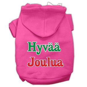 Hyvaa Joulua Screen Print Pet Hoodies Bright Pink XL (16)