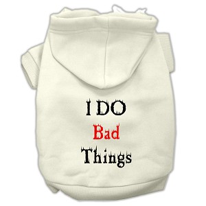 I Do Bad Things Screen Print Pet Hoodies Cream Size XXXL(20)