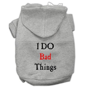 I Do Bad Things Screen Print Pet Hoodies Grey XS (8)
