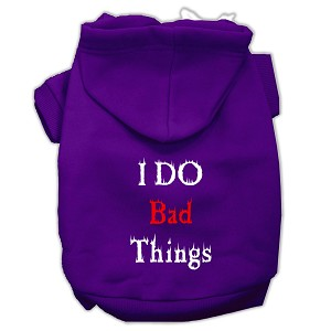 I Do Bad Things Screen Print Pet Hoodies Purple Size XL