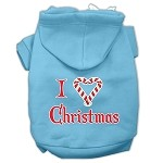 I Heart Christmas Screen Print Pet Hoodies Baby Blue Size XS