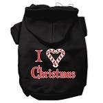 I Heart Christmas Screen Print Pet Hoodies Black Size XS
