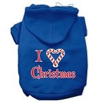 I Heart Christmas Screen Print Pet Hoodies Blue Size XS