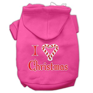 I Heart Christmas Screen Print Pet Hoodies Bright Pink Size XS (8)