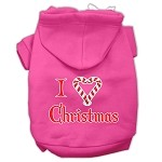 I Heart Christmas Screen Print Pet Hoodies Bright Pink Size XS