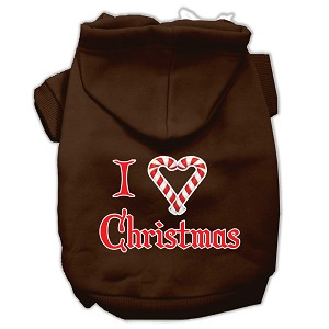 I Heart Christmas Screen Print Pet Hoodies Brown Size Sm (10)