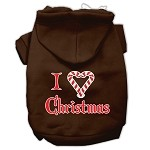 I Heart Christmas Screen Print Pet Hoodies Brown Size XS
